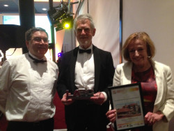 Rob Sansome and Alison Phillipson receive the LABC Best Social Housing Award, April 2015